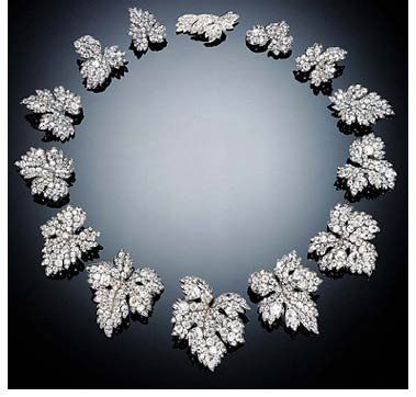 The French Crown Jewels - A set of diamond leaf brooches that belonged to Empress Eugénie