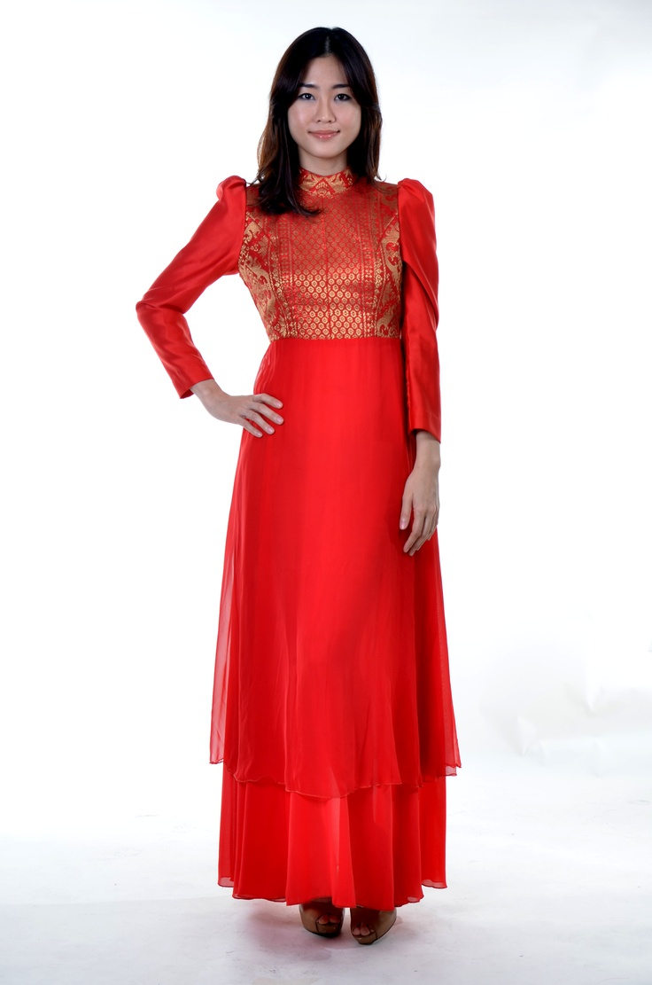 Long Red Dress Chiffon Sating with Songket