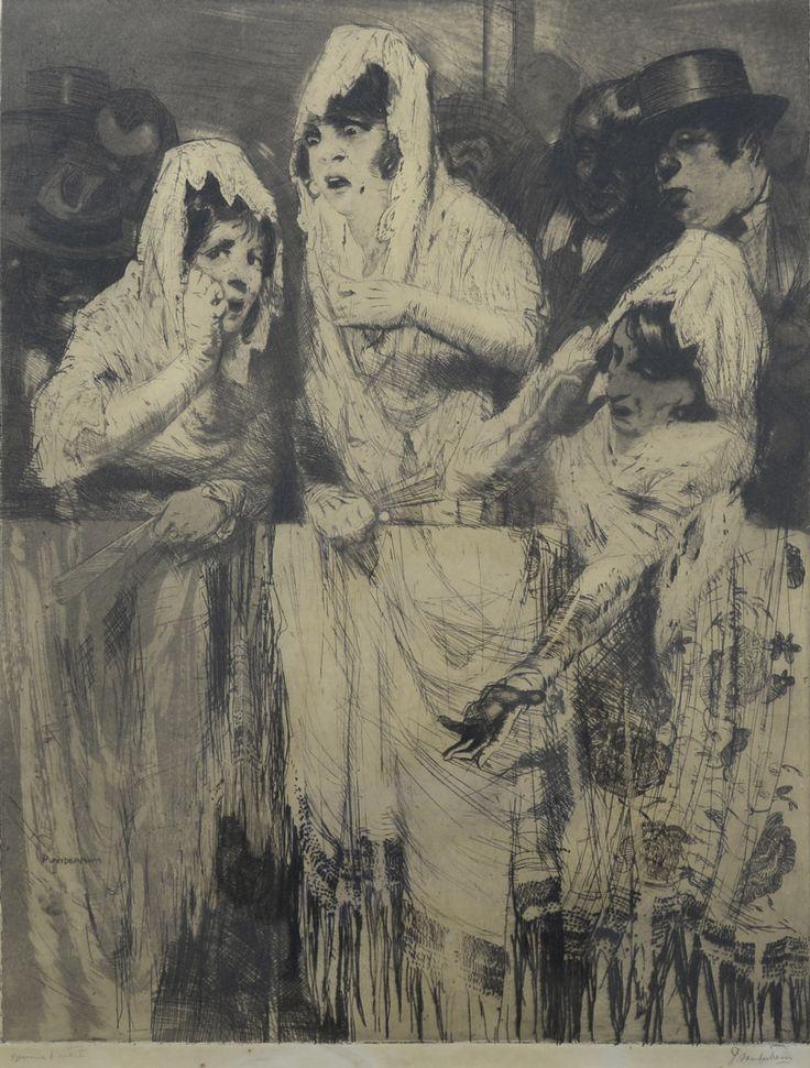 Spaanse dames in de Arena ets door Piet van der Hem (1885-1961)