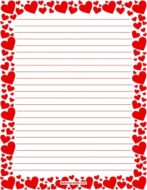 Printable red heart stationery and writing paper. Multiple versions available with or without lines. Free PDF downloads at http://stationerytree.com/download/red-heart-stationery/