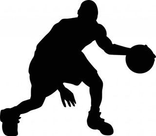 Basketball Action: Basketball Player silhouette template, stencil, sjabloon. Perfect for a boysroom mural, card making or other crafts. From Google search.