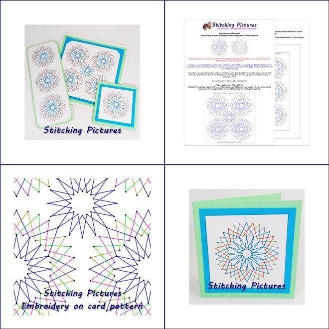 Create beautiful hand embroidered art work, greetings cards and bookmarks by stitching this geometric repeat spyrograph style pattern directly onto pricked card. Download instantly from https://payhip.com/b/vHNX