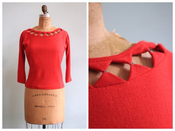 Vintage 1950's Red Rhinestone Cutout Sweater  by TroveVintageShop
