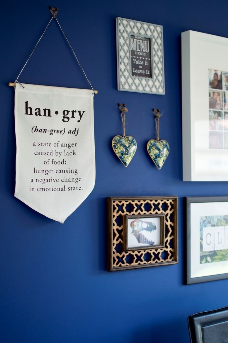 Kitchen Tour - i love this primary blue feature wall