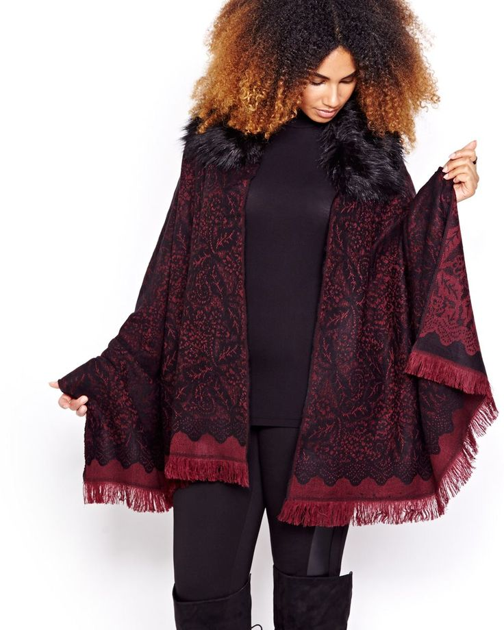 Here is a trendy plus size jaquard cape that can dress up simple outfits or be…