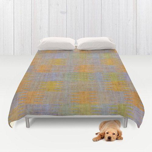 FULL QUEEN DUVET Comforter Cover Multicolor Southwestern Woven Design On Gray Neutral Linen Look Graphics . New Modern Bed & Bath Home Decor