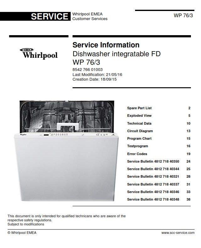 Whirlpool Wp 76 3 Dishwasher Service Manual Update Bulletins Dishwasher Service Dishwasher Whirlpool