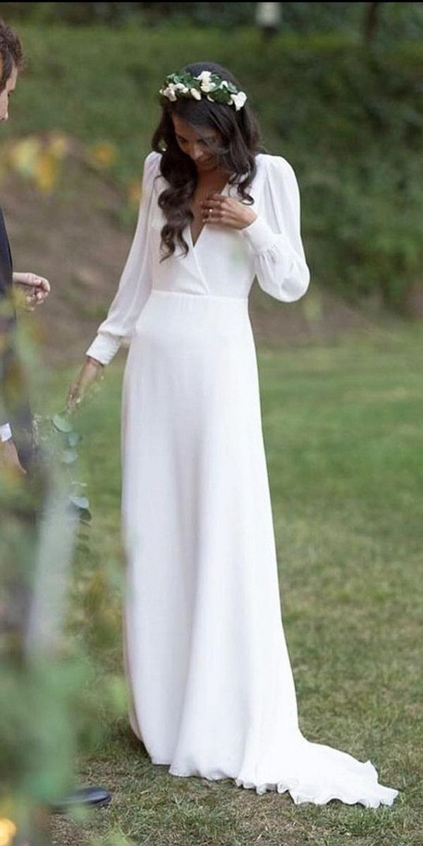 Modest Simple Wedding Dress With Long Sleeves Wedding Dress Long Sleeve Modest Bridal Dresses Modest Wedding Dresses