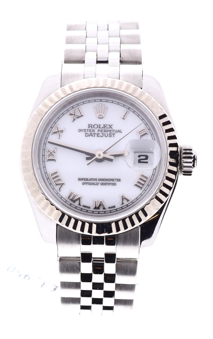Rolex DateJust 179174, Stainless Steel, White Dial, White Gold Bezel. Available to buy now on finance, or for part exchange at www.humberstonesjewellers.co.uk