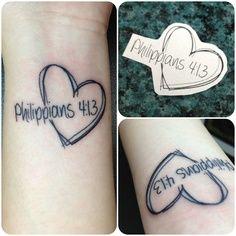 Heart Philippian 4:13 tattoo