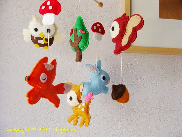 Baby mobile baby crib mobile forest animals woodland for Woodland animals nursery mobile