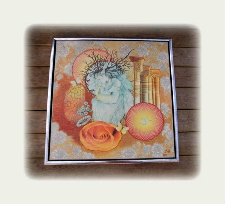 collage maleri ,lavet med fotokopier, servietter og akryl maling
