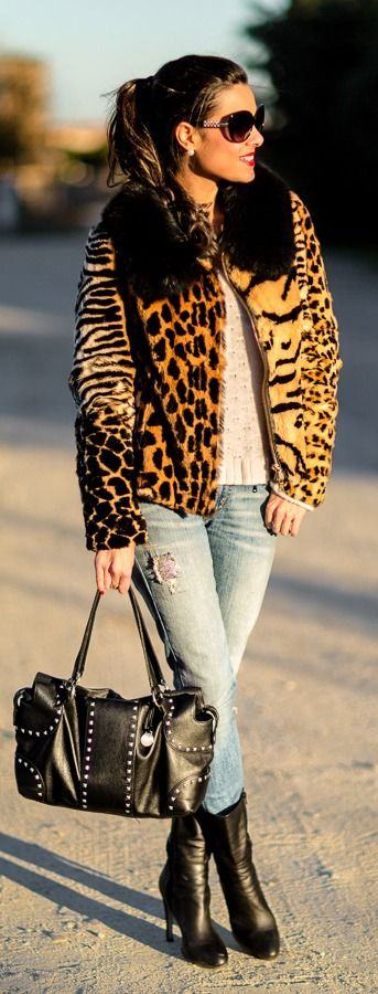Call Of The Wild / Leopard Coat Chic City |  ---LadyLuxuryDesigns