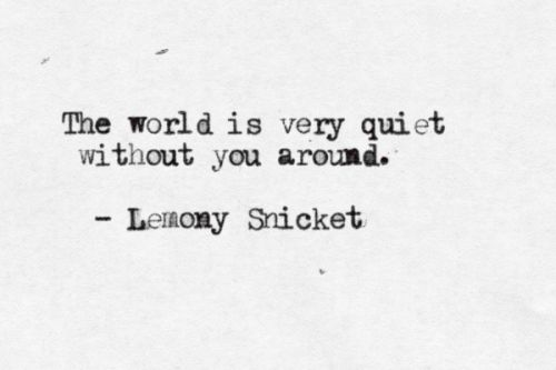 This is so sweet. Lemony Snicket quotes are quite profound, simple in a way that allows you enough space to project a wealth of emotion in to them. So cute, I love it!