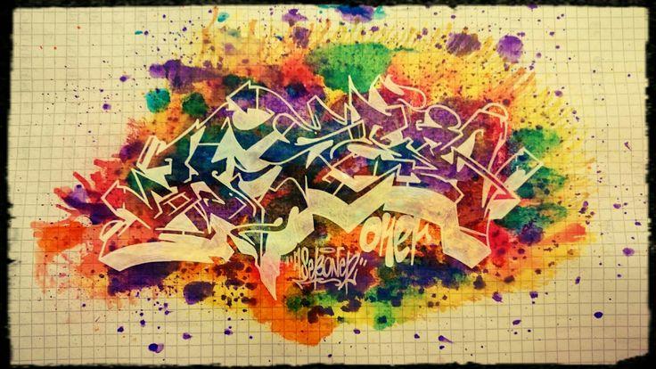 Graffiti sketch. AsebOner.  Peace! :-D #graffiti #wildstyle #sketch #colour #explosion #boom #AsebOner