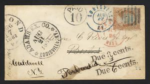 Mailed in Richmond, VA, during the Civil War, this envelope traveled across the border into Union territory via an express company. When it reached Louisville, Kentucky, the express company affixed a 3-cent 1857 U.S. postage stamp and placed the letter in the regular U.S. postal system for delivery to Boston.