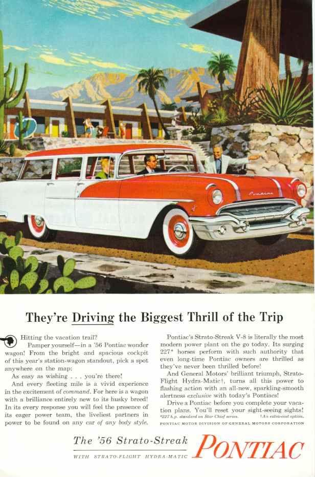 1956 Pontiac Safari station wagon vintage illustrated ad.