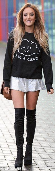 Mixing it up: Charlotte Crosby donned different slogan jumpers as she braved the Clothes S...