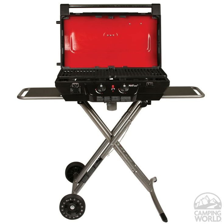 Coleman NXT Grill - Coleman 2000012520 - Gas Grills - Camping World - Enjoy real open-flame grilling flavor on a grill that folds up and rolls away. Perfect for entertaining at the campsite.