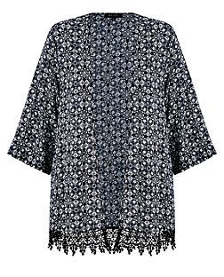 Monochrome Aztec Print Crochet Hem Kimono | New Look