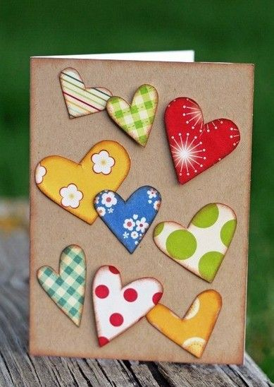 No instructions at link but you can use the photo as an inspiration. Just cut hearts from patterned papers and glue on card stock. Cute Valentine's card. Repinned by neafamily.com.