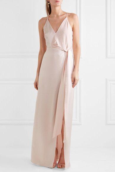 Halston Heritage | Tie-front satin gown | NET-A-PORTER.COM