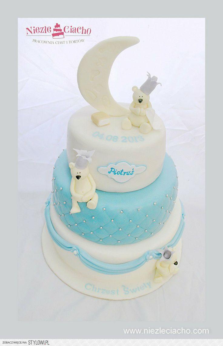Tort księżycowy, księżyc, misie, tort na chrzest, tort chrzcielny, przyjęcie z okazji chrztu, niebiesko-biały tort chrzcielny, Tarnów