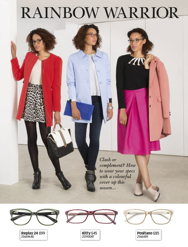 Pair your colourful winter coat with some contrast specs.