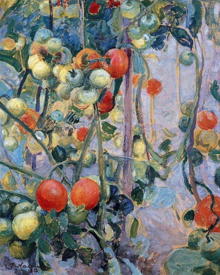 """Pekka Halonen (Finland 1865-1933): """"Tomatoes """", (1913) oil on cardboard 42 x 51 cm Helsinki, Ateneum Taidemuseo"""