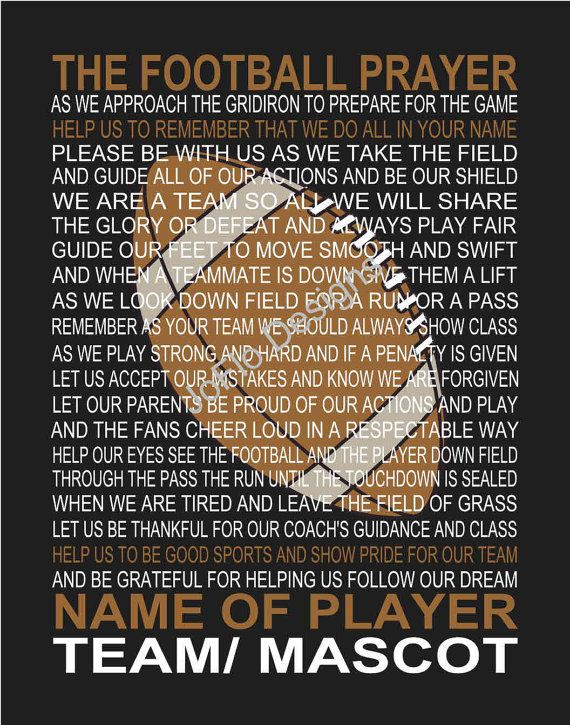 The Football Prayer with ball personalized 11 X 14