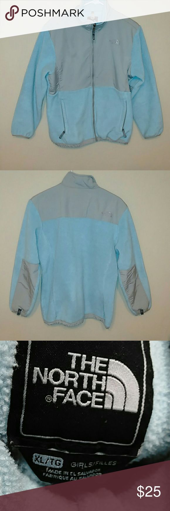 Powder blue North face jacket Denali style. XL in girls but can also fit a small-medium in women's. Great condition. No signs of wear. Very warm and goes with just about everything! The North Face Jackets & Coats
