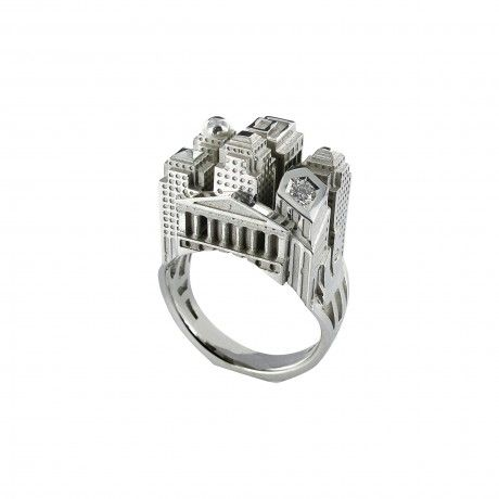 Philippe Tournaire XS New York Architecture Ring with Diamonds