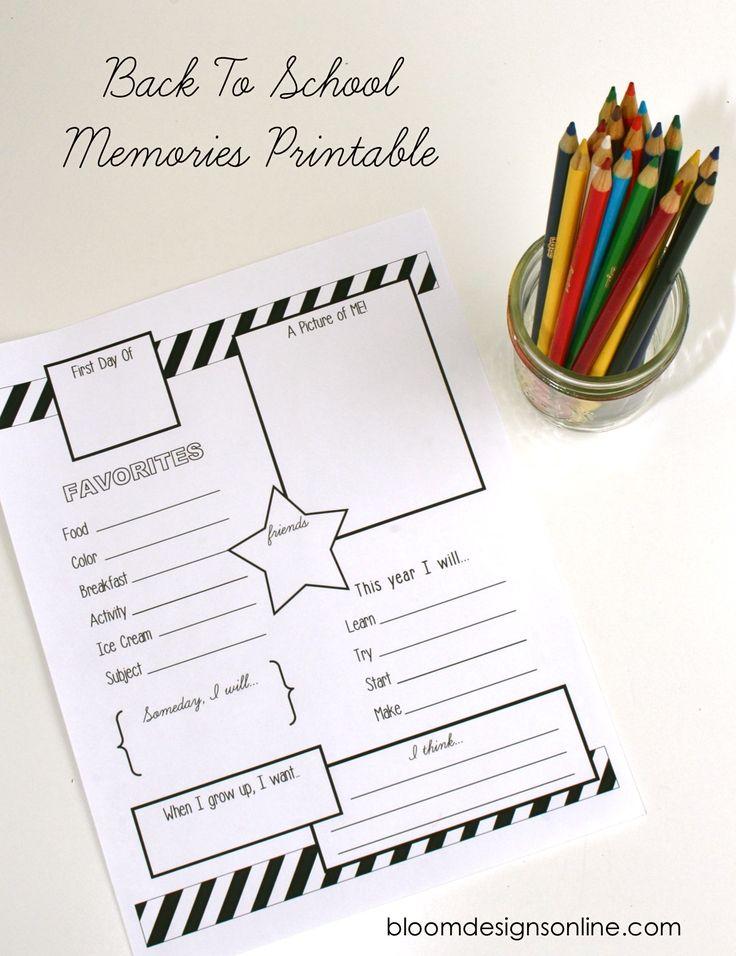 Free Back to School Memories Printable on { lilluna.com }