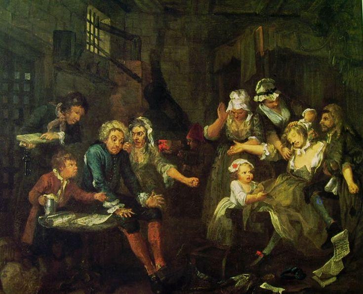 La carriera del Libertino (7) - La Prigione, William Hogarth; 1733-35; olio su tela; Soane's Museum, Londra