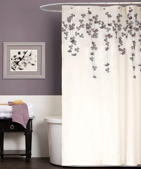 Ivory & Purple Flower Drops Shower Curtain