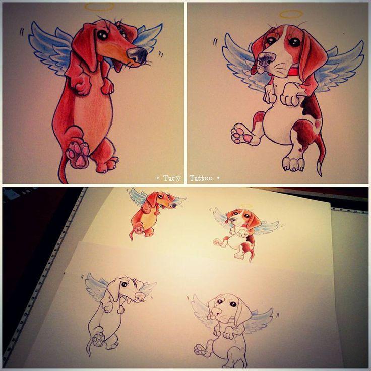 Dogs made by Taty Tattoo  cani dog dogs cane wings ali paradiso aureola heaven sketch tattoo studio tatuaggio colors halo paradise
