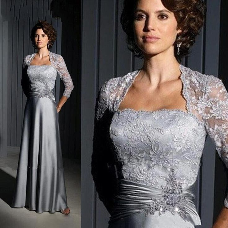 Silver Long Mother Of The Bride Dresses 2016 Strapless Vintage Lace A Line Satin Beads Formal Evening Gowns With Free Bolero Ba3029 Petite Mother Of Groom Dresses Petite Mother Of The Bride Dress From Bestoffers, $219.1  Dhgate.Com