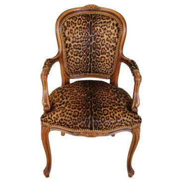 Check out this item at One Kings Lane! Walnut Armchair w/ Jaguar Spot Cowhide