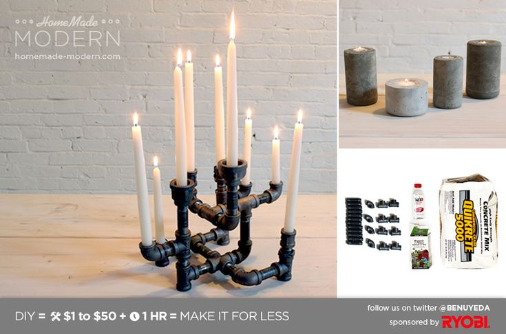 HomeMade Modern DIY EP10~Modern Candleholders from Pipes and Concrete