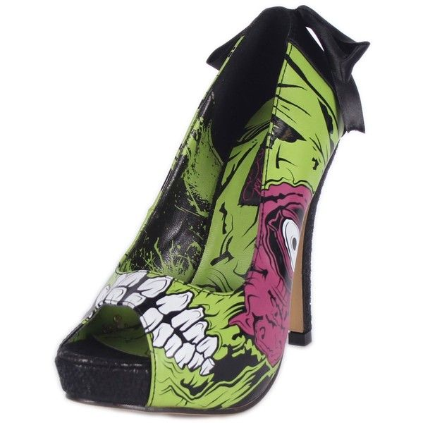Amazon.com | Ladies Zombie Stomper Platform in Black/Green by Iron... ($35) ❤ liked on Polyvore featuring shoes, pumps, green shoes, iron fist, green platform shoes, iron fist pumps and black court shoes