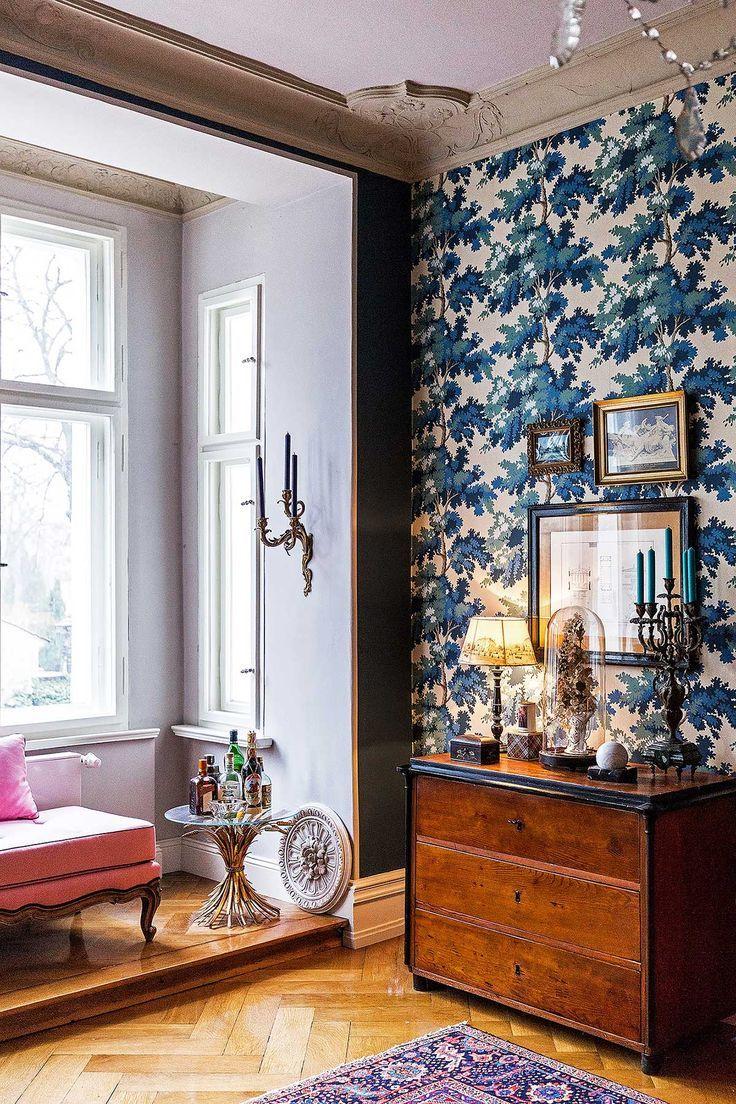 Bold blue graphic  wallpaper.