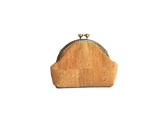 Eco Friendly Cork Purse - Pouch made from Natural Cork - Cool Vegan Gift for women