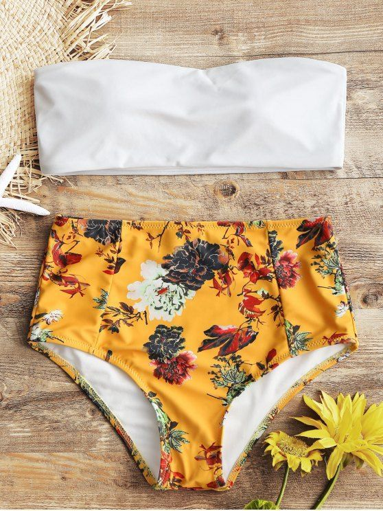 1cd0ba55d70bc Bandeau Top And Floral High Waisted Swim Bottoms. #Zaful #Swimwear #Bikinis  zaful,zaful outfits,zaful dresses,spring outfits,summer dresses,easter,cute  ...