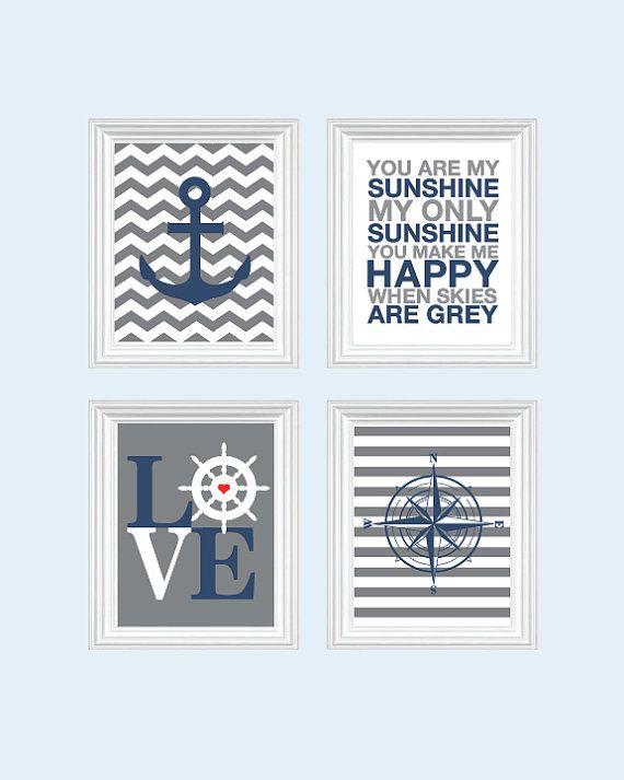 Nautical Nursery art - Baby Boy Nursery Art Chevron Nursery Prints, Boys Nautical Nursery, Inspirational Quotes - You are my sunshine