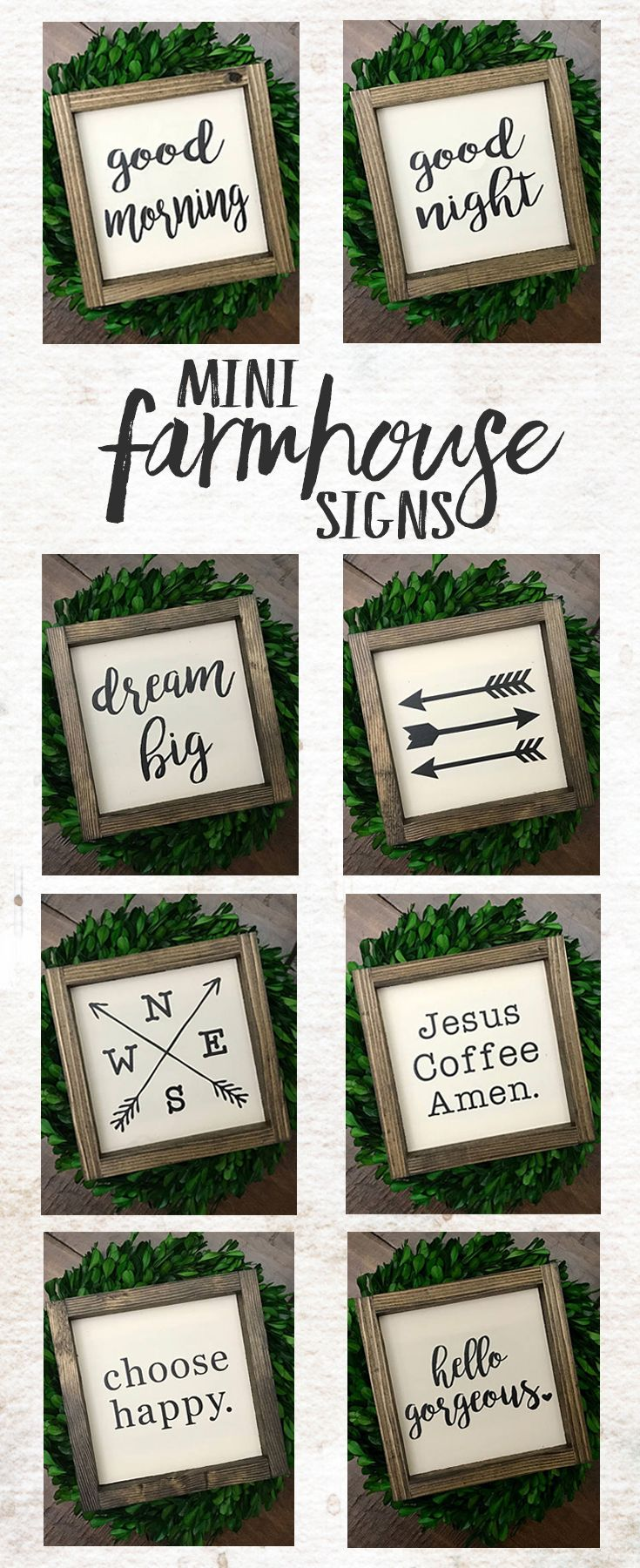 These signs are the perfect size for a gallery wall! One or several would look great! Farmhouse Wood Sign | Farmhouse Style Decor | Farmhouse Sign | Dream Big Hello Gorgeous Arrow Choose Happy | Rustic sign | Rustic wall decor | gift idea #ad