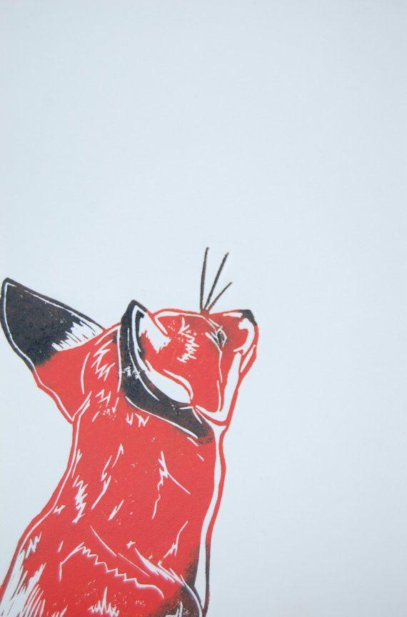 Linocut Fox Original Print