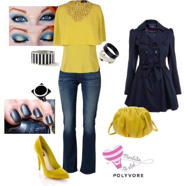 """Yellow/denim"" by morbidalavita on Polyvore"