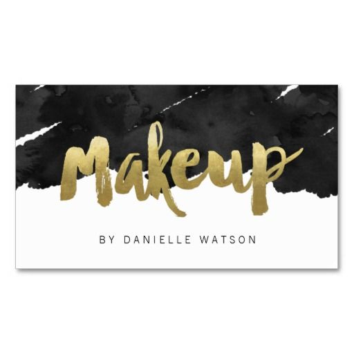 Edgy Faux Gold Foil Makeup Artist Business Card