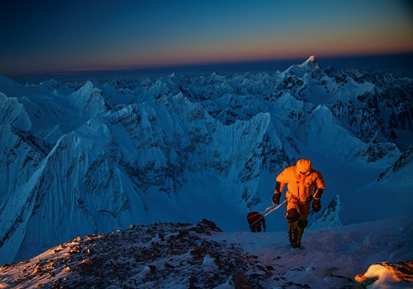 Photo of the Month. National Geographic.   Picture of climbers ascending Gasherbrum II (Cory Richards)
