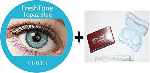 Lentilles De Contact De Couleur Topaz Bleu 3Tons + Avizor Solution Multifonctions Pour Lentilles 10ML + Kit De Rangement Couleur Aléatoire…
